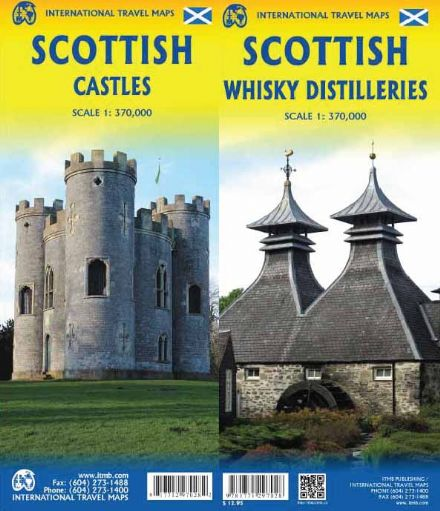 Scotland Castles & Whisky Distilleries Travel Map